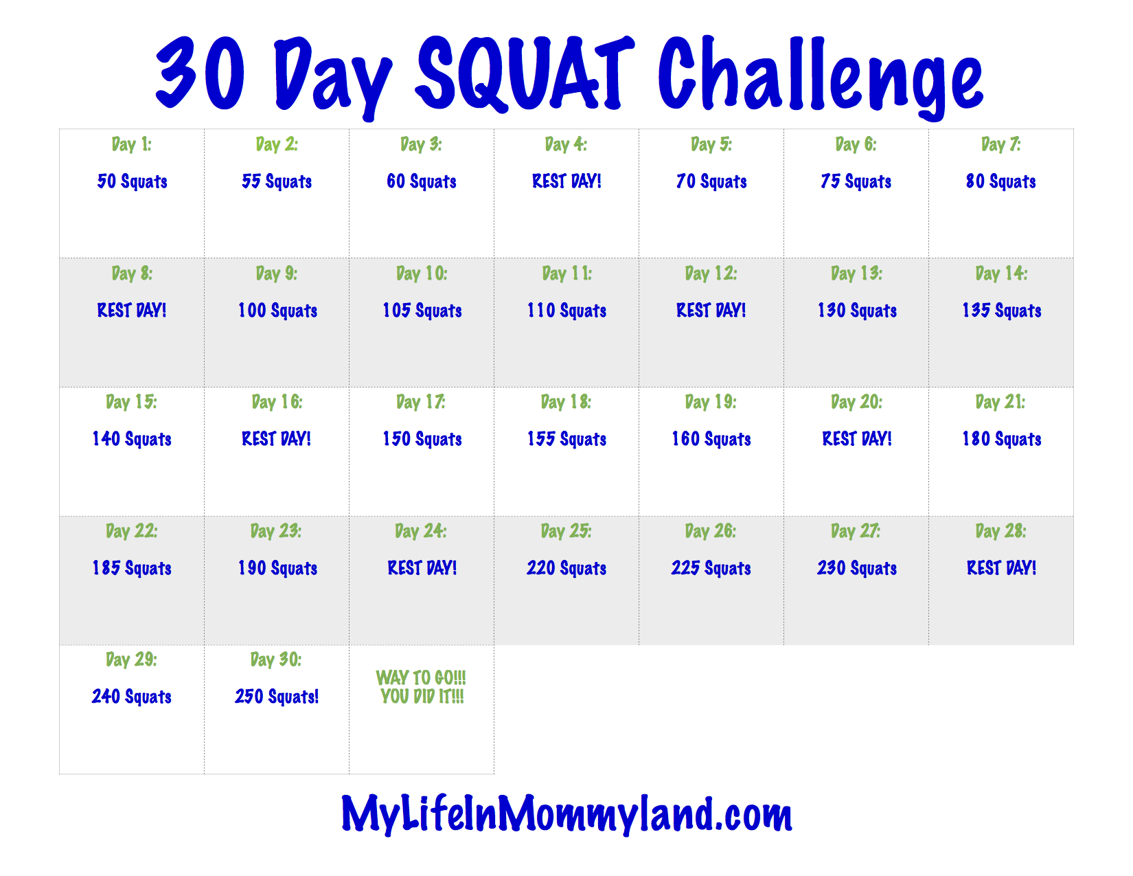 image relating to 30 Day Squat Challenge Printable named 30 Working day Mommyland Squat Dilemma My Daily life within just Mommyland