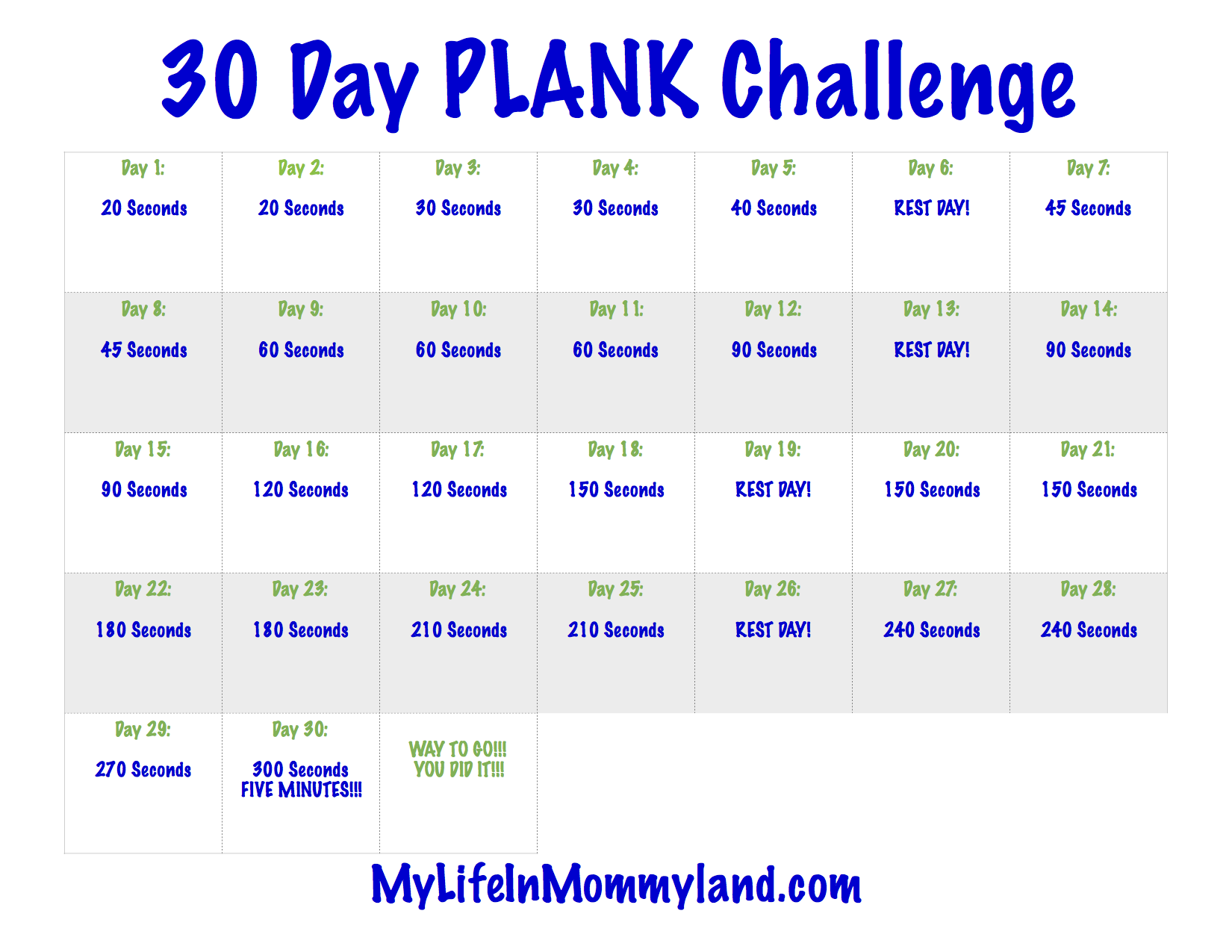 image regarding Printable Plank Challenge named 30 Working day Mommyland Plank Concern My Daily life inside Mommyland